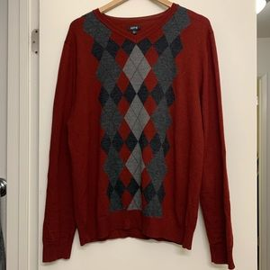 Men's Apt 9 red and gray argyle sweater size XL